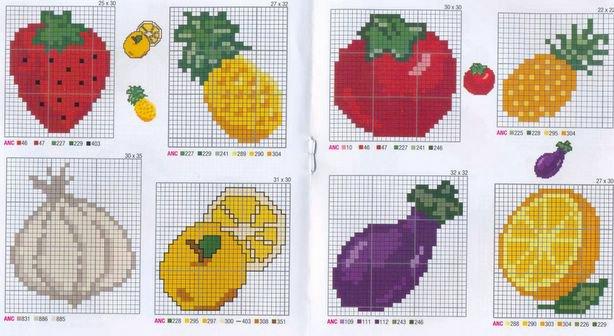 Вышивка крестом схемы маленькие фрукты