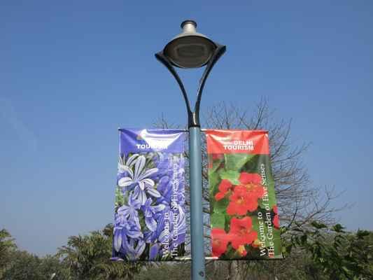 Zahrada je navržena tak, aby stimulovala smyslové reakce na životní prostředí. Spojením barvy a vůně, struktury a formy evokuje povědomí o doteku, vůni, zraku, zvuku a chuti. Většina uměleckých děl je dynamická, takže je pro návštěvníky interaktivní. Asi 25 různých soch a nástěnných malby bylo vytvořeno v zahradě, což je jedna z největších sbírek veřejného umění v zemi. Tato zahrada se nachází v blízkosti prvního města Dillí, tj. Qila Rai Pithora a při příjezdu k zahradě z bodu T na silnici MB je vidět mohutné zdi této pevnosti. Zahrada pěti smyslů zobrazuje architekturu prvního města včetně kamenů používaných při stavbách hraničních zdí a kancelářského komplexu tvaru kopule. Procházka začíná popisem stromů, které jsou vysazeny na vnějším okraji zahrady, tj. Ze schodů, které učiníte, pro pohyb v zahradním komplexu. Podrobnosti o stromech, které spadají do této oblasti, byly popsány níže společným jménem, botanickým názvem a popisem ve prospěch běžného člověka, který se může projít