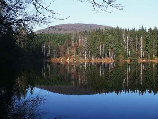 hraniční rybník položený v údolí mezi srní horou a velkým bukem...