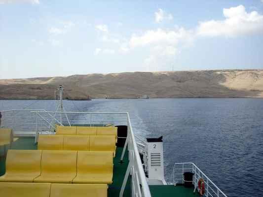 trajektový přístav Žigljen na Pagu, míříme do Prizny