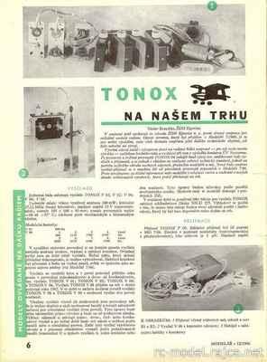 Sériově vyráběná vícepovelová RC souprava (ŽDH Ejpovice) s označením TONOX (1966).