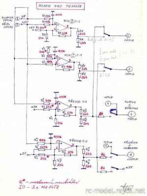 Původní návrh na mixování signálů pro vysílač Modela z roku 1981 - později kodér Variant. Podnětem byla stoupající technická náročnost na ovládání zejména mechanizace křídel (křidélka, klapky, brzdy) pro větroně kategorií F3B a F3F.