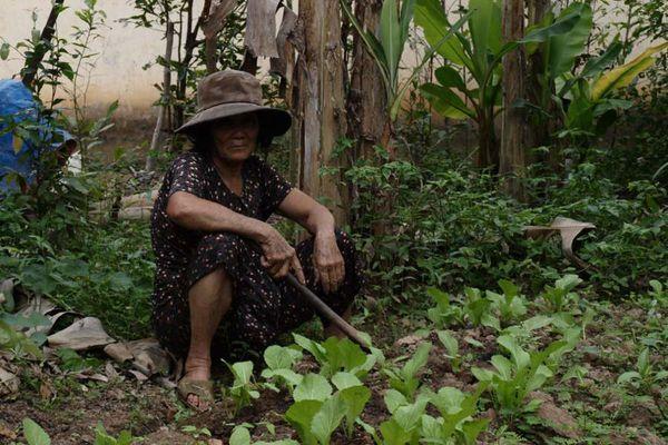 žena zemědělec - přestala kopat a i kdzž to tak nevypadá, usmála se.